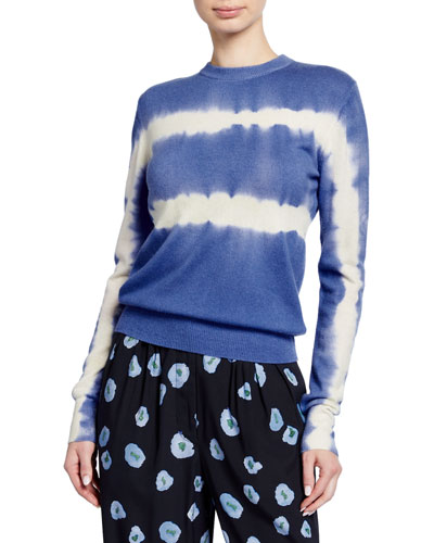 Kam Tie-Dye Wool-Cashmere Crewneck Sweater