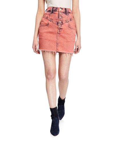 The Swooner Yoke-Front Frayed Mini Skirt