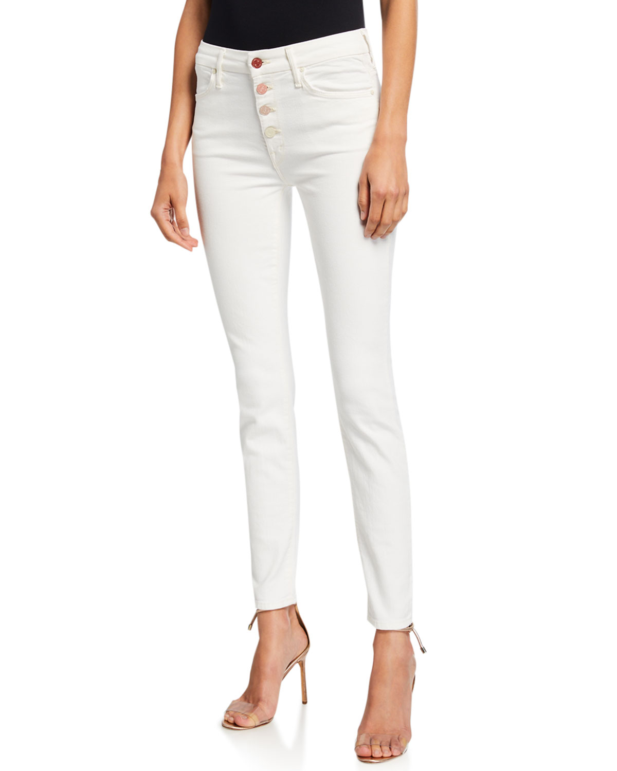 Mother Jeans THE PIXIE MID-RISE SKINNY JEANS W/ BUTTON FLY