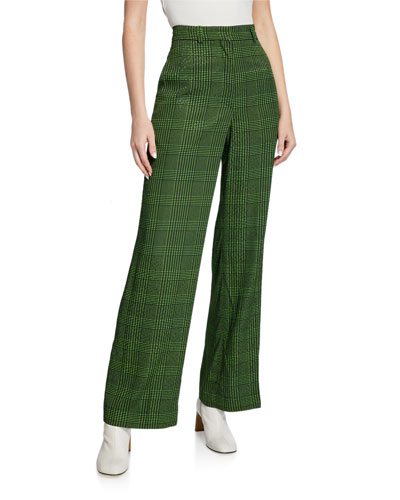 Pelmo High-Rise Wide-Leg Check Pants