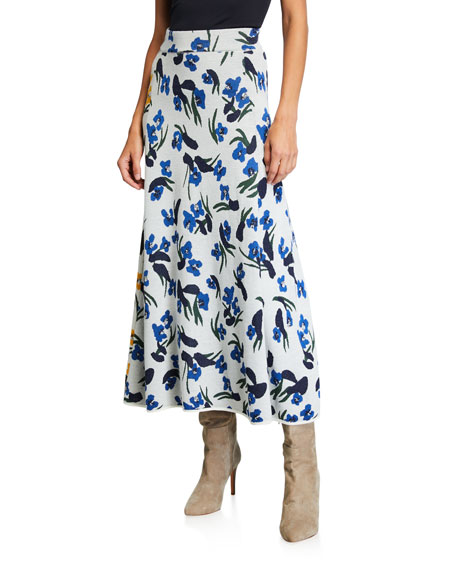 Christian Wijnants Katinka Floral-Print Colorblock Skirt