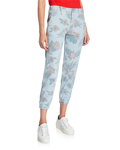 No Zip Misfit Floral Cropped Pants