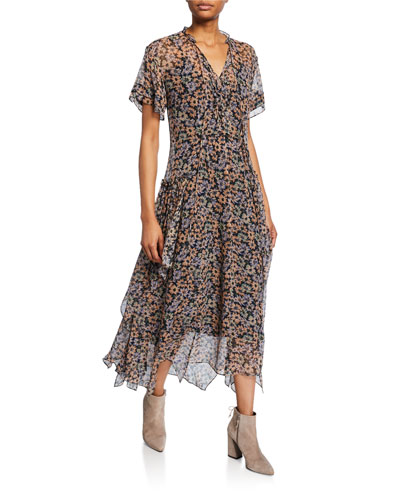 Long Bib Floral-Print Handkerchief Dress