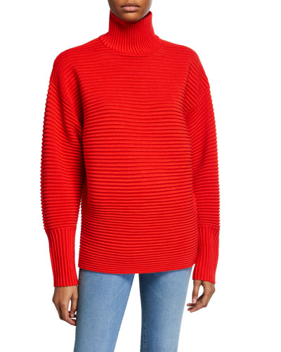 Curved-Sleeve Turtleneck Sweater