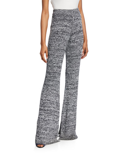 Marled Split Flare Pull-On Trousers