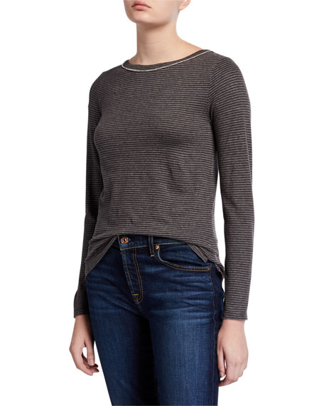 Majestic Filatures Striped Boat-Neck Long-Sleeve Tee with Crystal Embellishment