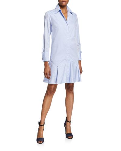 Pinstripe Flounce Long-Sleeve Shirtdress