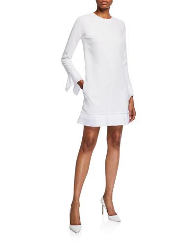 Pleated-Trim Long-Sleeve Shift Dress