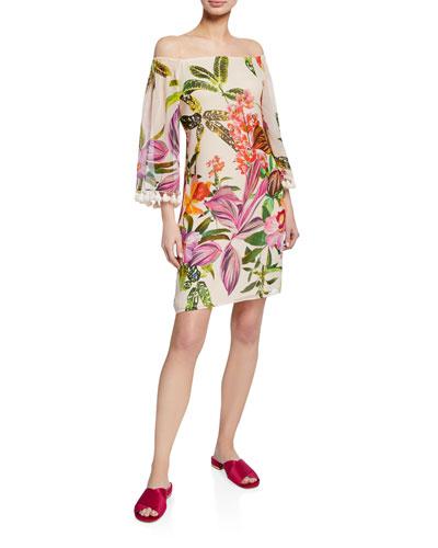 e872483c Quick Look. Trina Turk · Amaris Floral-Print Off-Shoulder Silk Dress