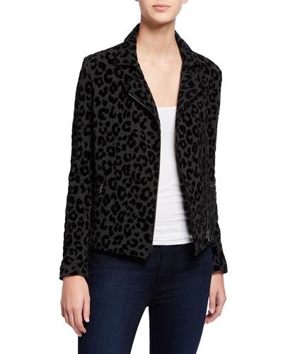 Leopard-Print Moto Jacket