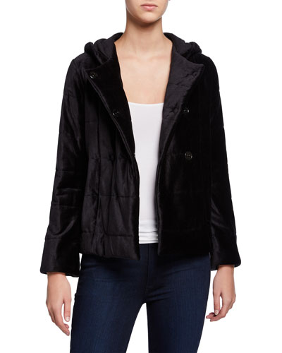 Button-Down Quilted Jacket with Hood