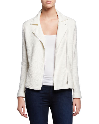 Textured Zip-Front Moto Jacket