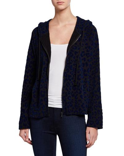 Velour Leopard Zip-Front Hoodie Jacket