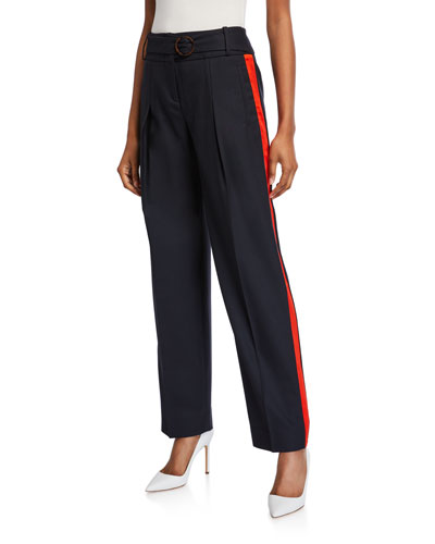 Side-Striped Belted Trousers