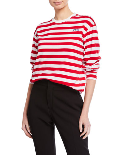 Striped Long-Sleeve Crewneck Tee