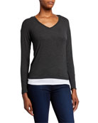 Majestic Paris for Neiman Marcus Double-Layer V-Neck Long-Sleeve