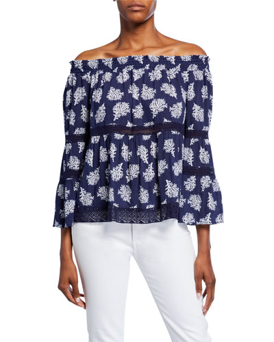 Paint Reef Off-the-Shoulder Bell-Sleeve Top