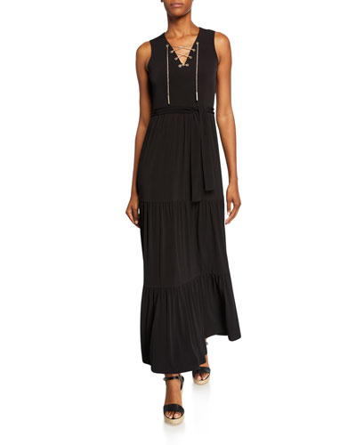 Chain Lace-Up Sleeveless Maxi Dress