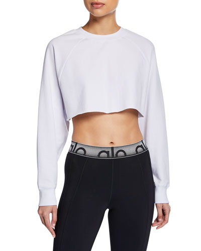 Double Take Raglan-Sleeve Cropped Sweatshirt