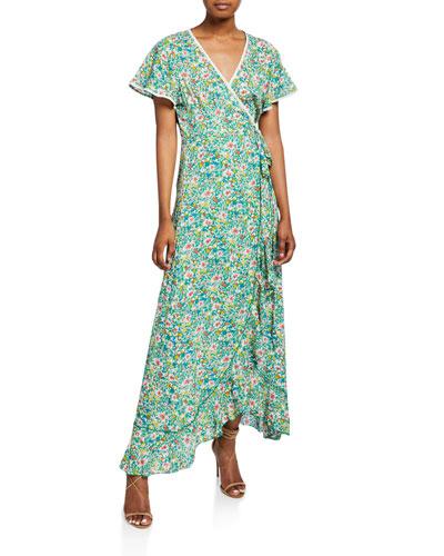 Joe Printed Ruffle V-Neck Long Dress