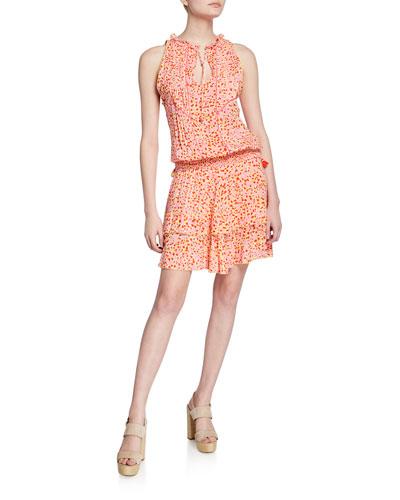 Amora Printed Sleeveless Layered Mini Dress