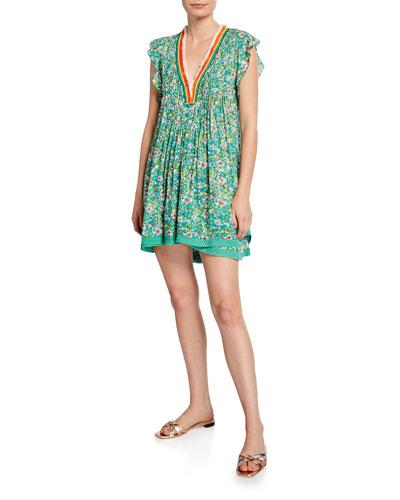 Sasha Lace-Trim Printed Mini Dress