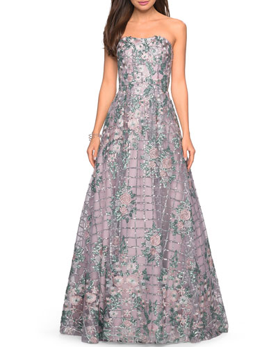Strapless Floral-Embroidered A-Line Gown with Sequins