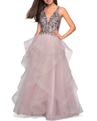 Sleeveless A-Line Tulle Gown w/ Beaded Bodice & Deep V-Neck