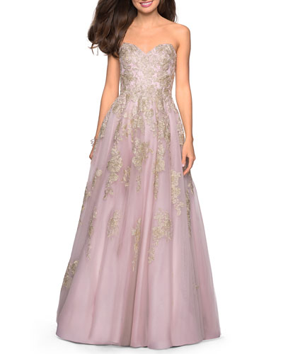 Strapless Sweetheart Ball Gown with Lace Appliques