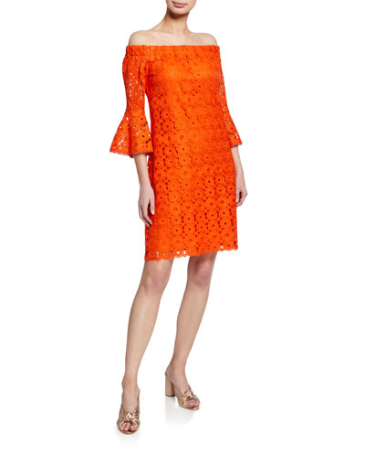 Healdsburg Off-the-Shoulder Bell-Sleeve Lace Dress