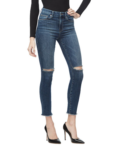 Good Waist Crop Skinny Jeans w/ Frayed Hem - Inclusive Sizing