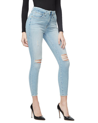 Good Waist Crop Distressed Skinny Jeans - Inclusive Sizing