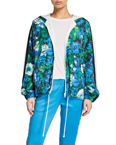 Floral Zip-Front Hooded Track Jacket