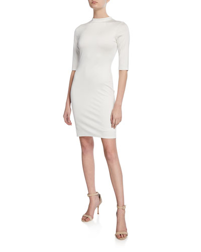 Delora Mock-Neck Elbow-Sleeve Fitted Dress