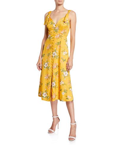 Lita Button-Front Tie Dress