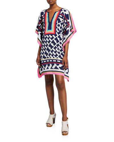 Theodora Printed V-Neck Short-Sleeve Dress