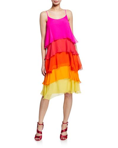 Sunshine Colorblock Tiered Sleeveless Silk Dress