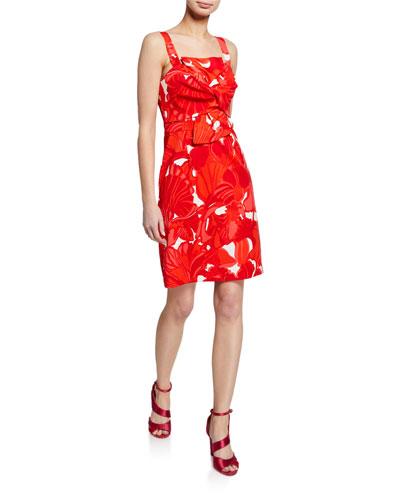Lani Printed Twist-Front Sleeveless Sheath Dress