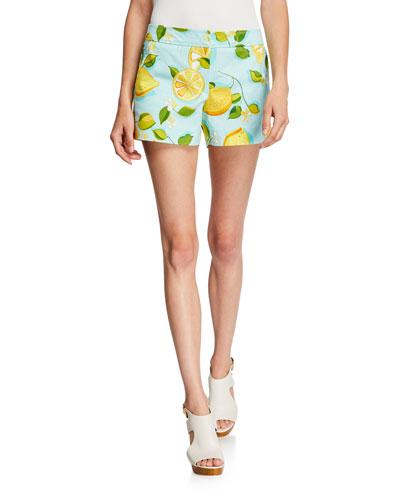Corbin 2 Lemon-Print Stretch-Cotton Shorts