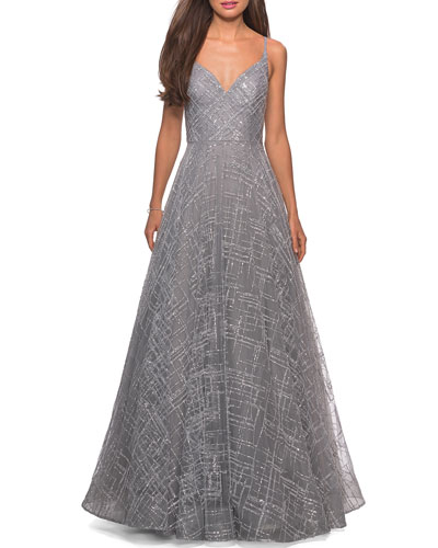 Patterned Sequin Sweetheart Sleeveless Ball Gown