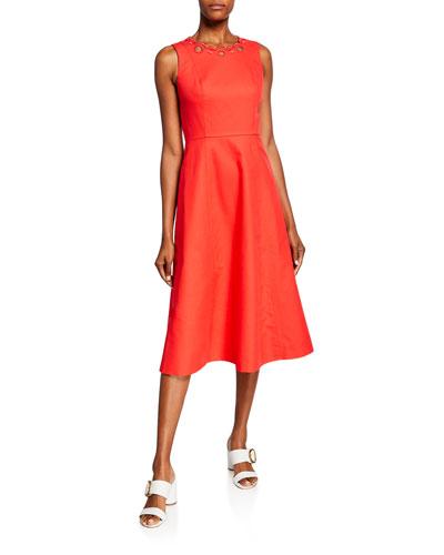 scallop cutout sleeveless a-line midi dress