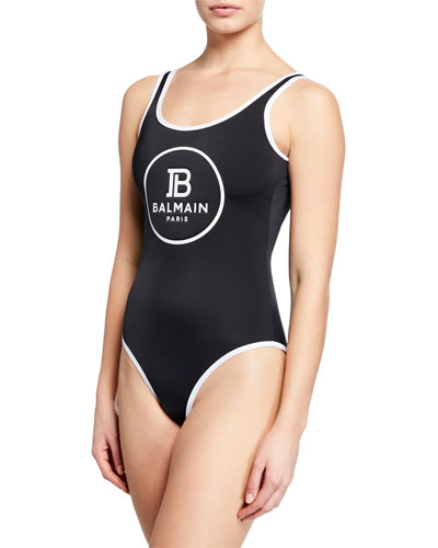 Low-Back Logo One-Piece Swimsuit
