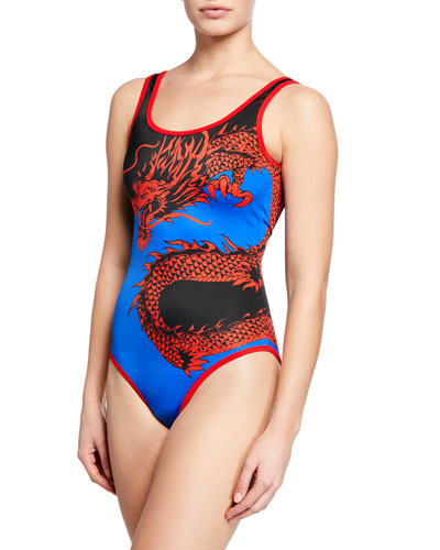 Dragon-Print Scoop-Back One-Piece Swimsuit