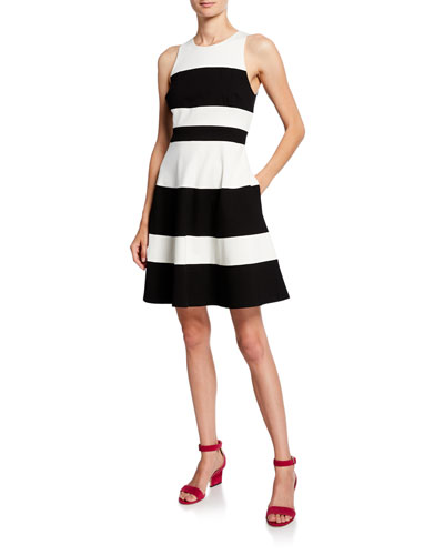 striped a-line ponte dress