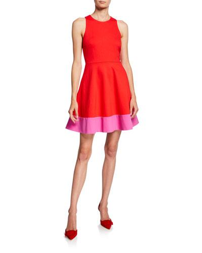 colorblock sleeveless a-line ponte dress