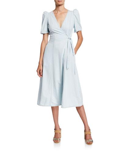 denim midi wrap dress