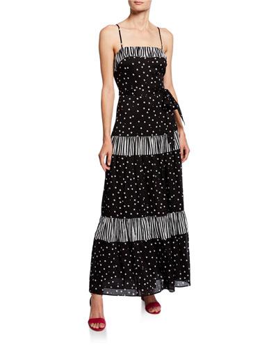 daisy dot mixed print sleeveless a-line maxi dress