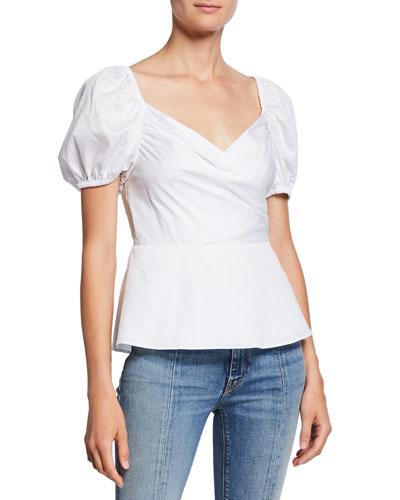 sweetheart puff-sleeve peplum blouse