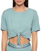 Koral Activewear Crystal Cropped Tie-Front Tee