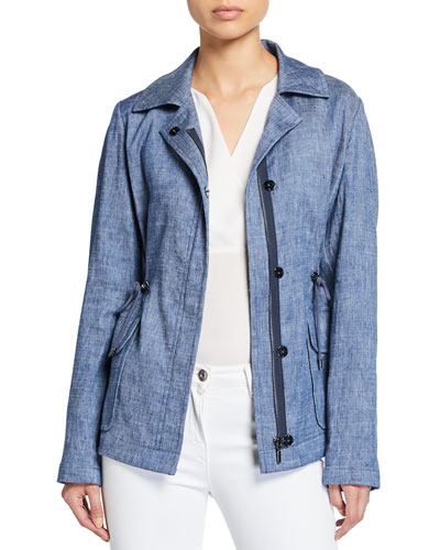 Helga Zip-Front Chambray Linen Jacket